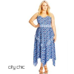 CITY CHIC Frill Halter Maxi Dress XL